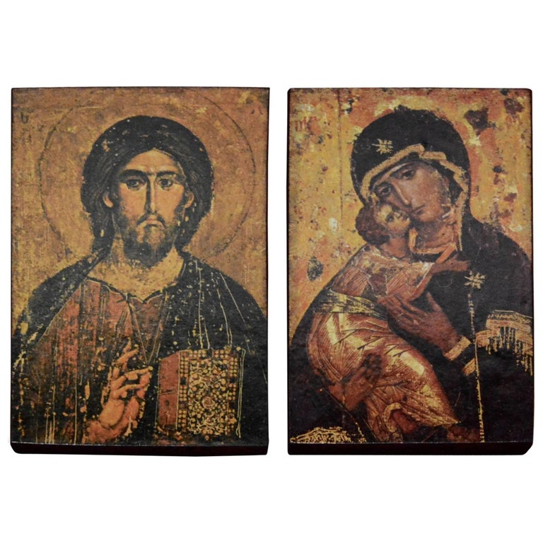 Prints on Wood of Religious Icons Christ and Mary, the Mother of God