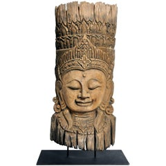 Southeast Asian Reclaimed Carving of a Goddess