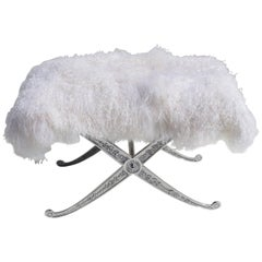 Hollywood Regency Style Bench in Polished Aluminum and Silky Fur