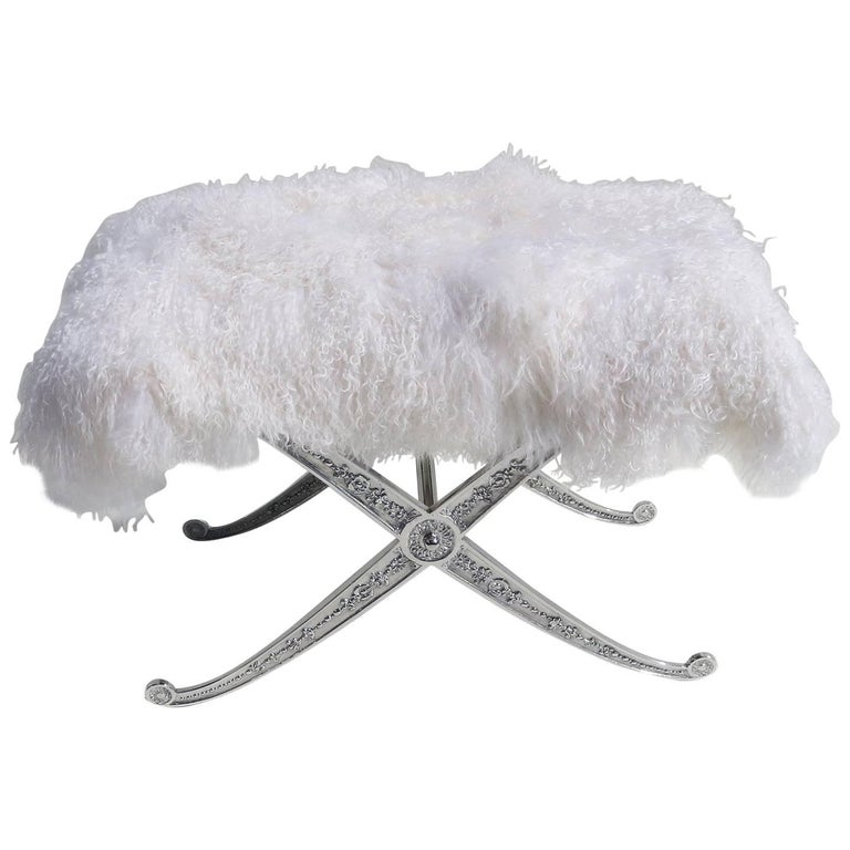 Hollywood Regency Style Bench in Polished Aluminum and Silky Fur 1