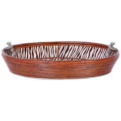 British Colonial Rattan Serving Tray or Basket with Tiger Handles