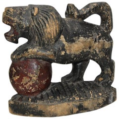 Early 19th Century Antique Wooden Lion on Red Ball Carving