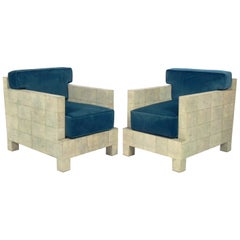 Pair of Shagreen Lounge Chairs, after a design by Jean Michel Frank