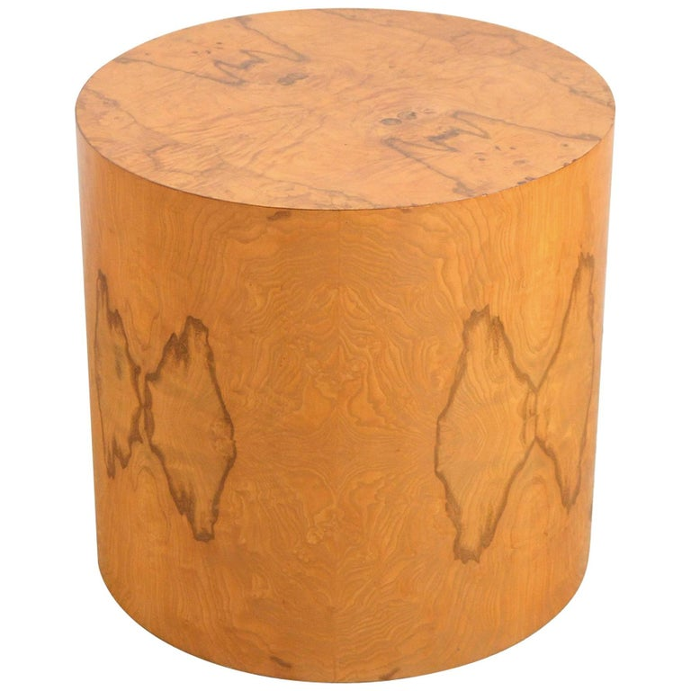 Milo Baughman Burled Drum Side Table by Thayer Coggin