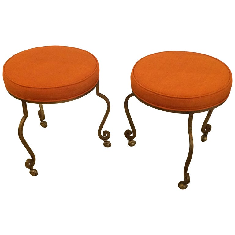 Sizzling Pair of Mid-Century Modern Gilt Iron and Tangerine Silk Stools Ottomans For Sale