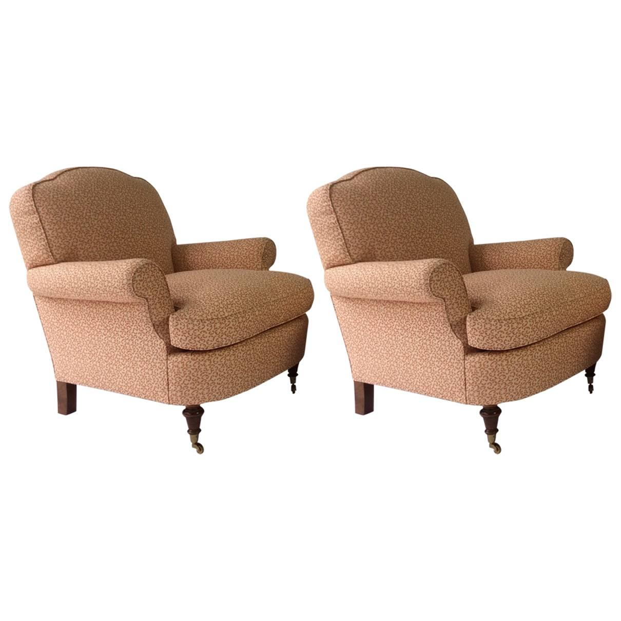 George Smith Style Club Lounge Chairs, Wood Turned Legs On Brass Castors 1