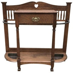Shapland and Petter Oak Umbrella or Stick Stand with Pierced Heart Detail