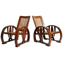 Pair of British Colonial Art Deco Rattan Chairs