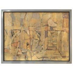 Mid-Century Modern Abstract Oil Painting, Floating Wood Frame