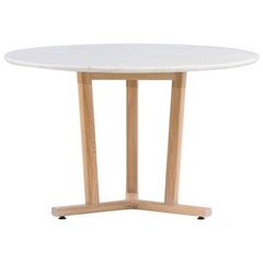 Neri & Hu for De La Espada Round Shaker Dining Table Marble, White Oiled Oak