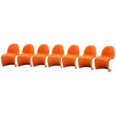 Orange Verner Panton S Chairs. Herman Miller.  ONLY THREE LEFT!