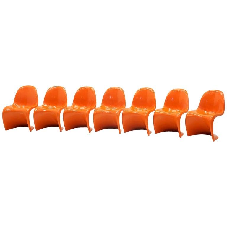 Set of Seven Orange Verner Panton S Chairs, Early Herman Miller Production