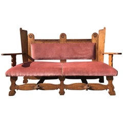 Arts & Crafts Style Settee with Clover Leaf Carvings and Pegged Construction