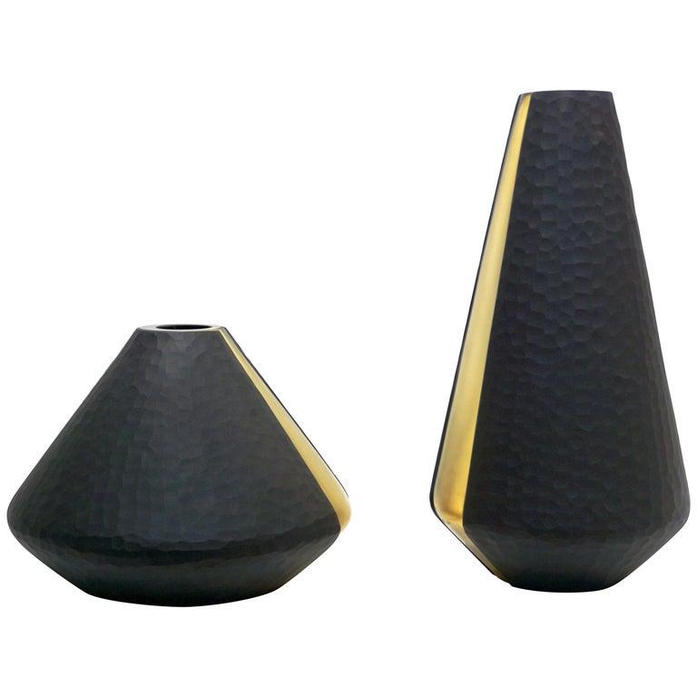 Formia 1980s Organic Modern Black and Gold Leaf Battuto Murano Glass Sexy Vase