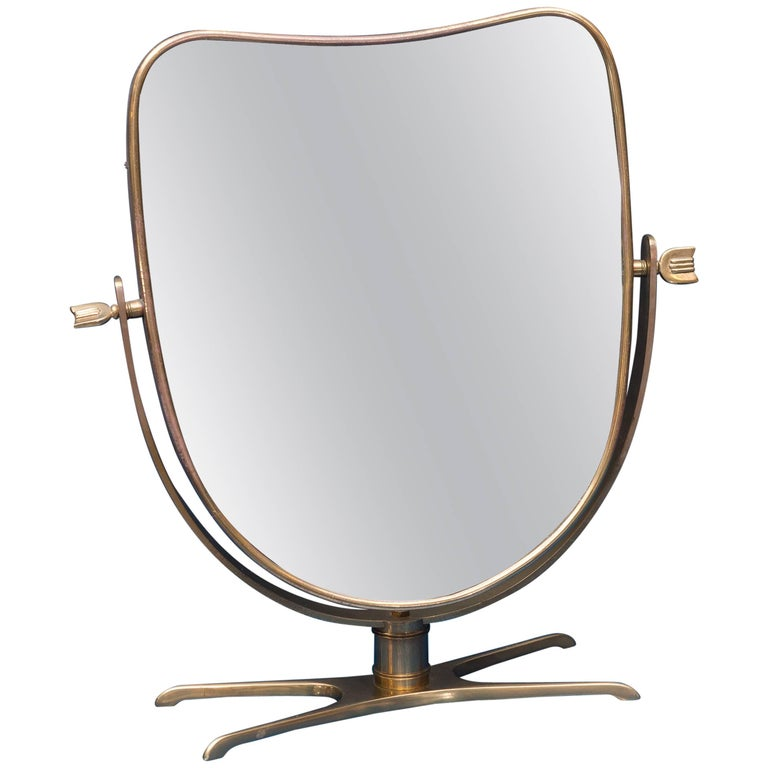 Italian Brass Vanity or Tabletop Mirror 1