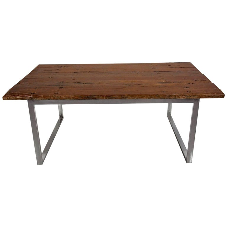 Ancient Bridge Wood Dining Table on Chrome Base For Sale  : 8412273master from www.1stdibs.com size 768 x 768 jpeg 29kB