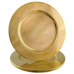 Set of Six Cover Plates in Brass, Danish Design, 1960s