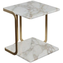 Marta Sala Editions T1 Harry Side Table, Matte Brass, Calacatta Gold Marble Top