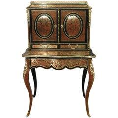 French Louis XV Style Boulle Bonheur Du Jour Writing Cabinet