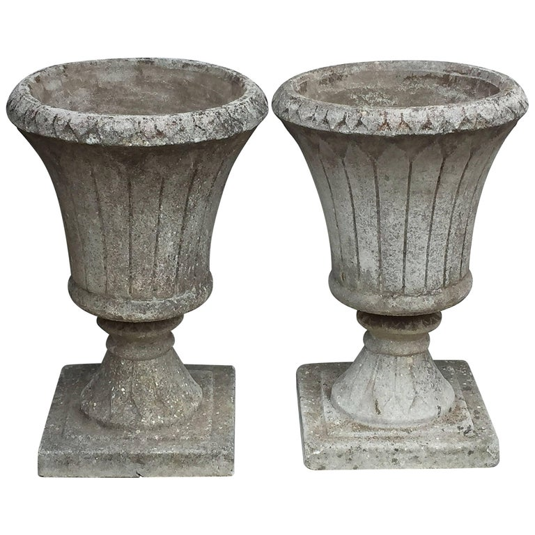 Pair of English Garden Stone Urns in the Classical Style 1