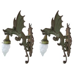 Pair of Gothic Style Dragon Sconces with Glass Bulbs