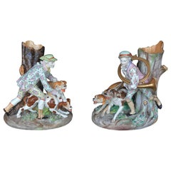 Set of Two Meissen Hunting Dog Vases