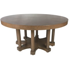 Round Colonnade Base Oak Dining Table