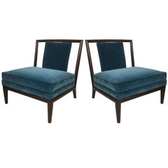 Pair of Walnut Slipper Chairs after T.H. Robsjohn-Gibbings