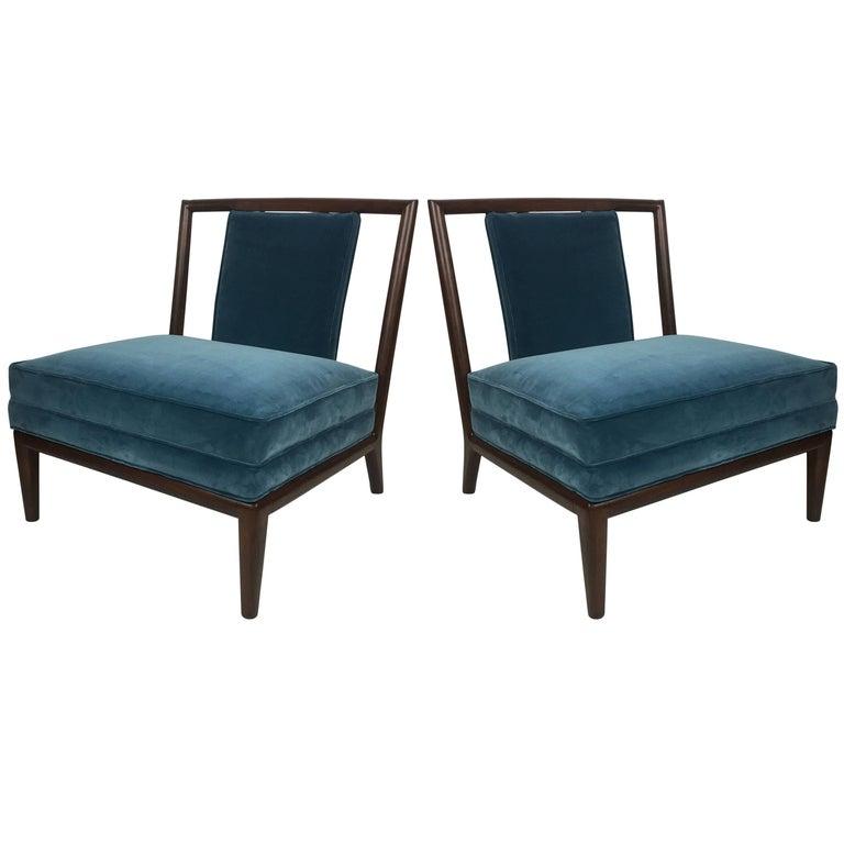 Pair of Walnut Slipper Chairs after T.H. Robsjohn-Gibbings