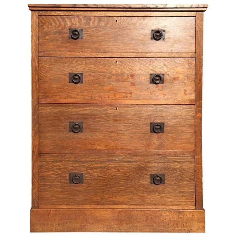 Tall Arts & Crafts Oak Chest of Drawers with Steel Handles