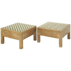 Gordon Russell of Broadway Pair of Arts & Crafts Oak Stools with Original Fabric