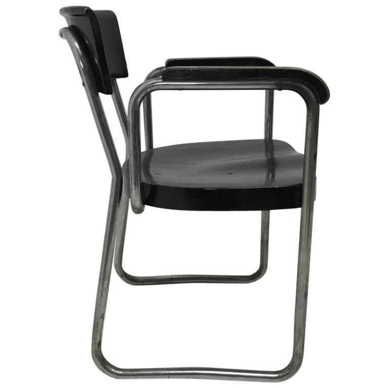 Emile Guillot Tubular Steel Modernist Armchair Made by Thonet