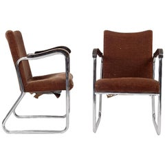 Thonet, a Pair of 1930s Tubular Steel Armchairs with Ebonized Armrests