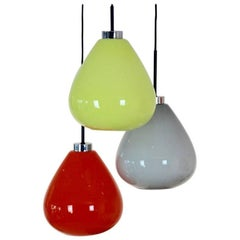 Sophisticated Three Colored Murano Glass Pendant Lamp from Venini, Italy, 1970s