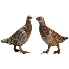 Sterling Silver Pair of Grouse Bird Figurines, Sheffield 2002, C J Vander Ltd