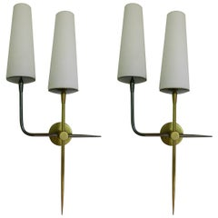 Pair of 1950s Double Sconces by Maison Lunel