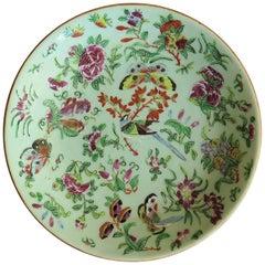 Chinese Porcelain Plate Celadon Glaze Hand-Painted butterflies, Qing Circa 1820