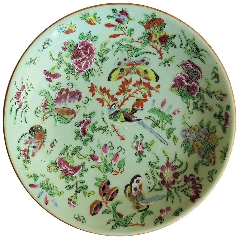 Chinese Porcelain Plate Celadon Glaze Hand-Painted, Qing ...