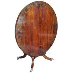 Fine Regency Brass Inlaid Rosewood Breakfast Table