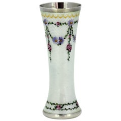 Vintage Silver and Enamel Floral Decorated Small Vase, Norway, circa 1940s
