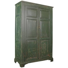 18th Century, Original Painted English Linen Cupboard