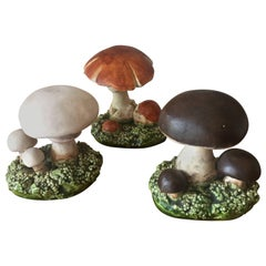 Curious Set of Mid-Century Naturalistic French Ceramic Mushrooms Marcel Guillot