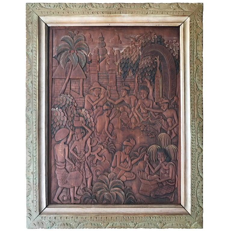 Balinese, Batuan Hand Carved Cockfight Painting Sculpture by Ida Bagus Made Raka