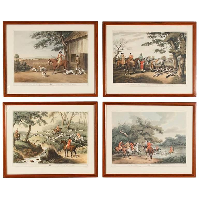 Set of Four Frames with Hunting Scene Prints, England, 20th Century