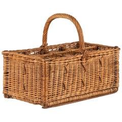 French Bottle Holder Wicker Basket, 1940s