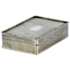 Art Deco Solid Sterling Silver Cigarette Box, 1922, Charles Henry Dumenil