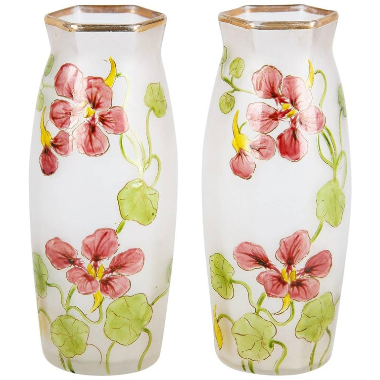 Pair of Hand-Painted French Art Nouveau Glass Vases, 1900s