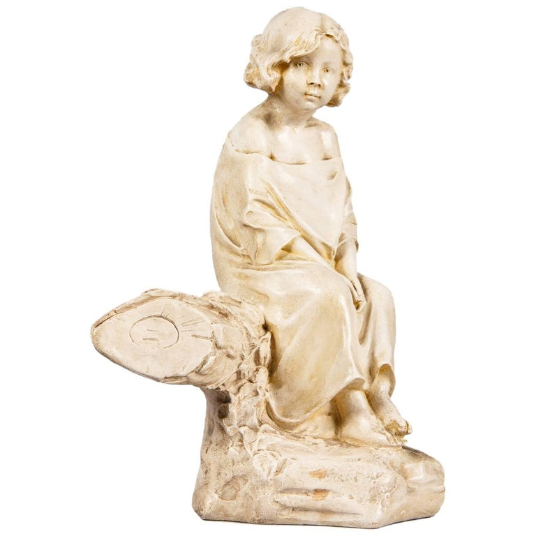 French Plaster Figurine of a Young Girl, Early 1900s For Sale