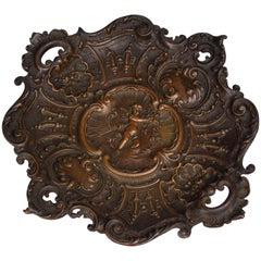 Bronze Vide Poches with Cherub Motif, France, Late 1800s
