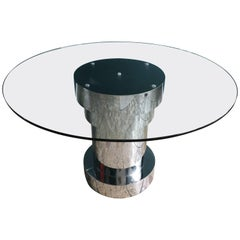 Modern Italian Dining Table with Circular Glass Top and Metal Clad Base, 1980s